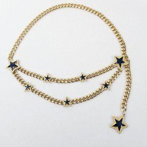 Rare St. John Goldtone & Enamel Stars Chain Belt